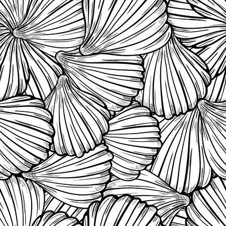Black and white vector seamless pattern with sea shells.