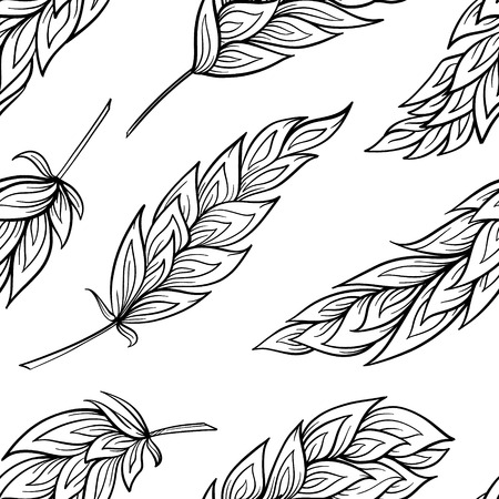 white feathers: Black and white feathers vector seamless pattern Illustration