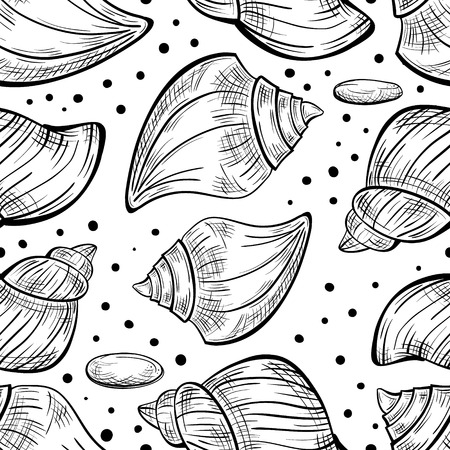 cockle: Black and white vector seamless pattern with sea shells.