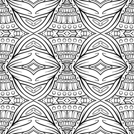 Vector black and white decorative elements seamless pattern.