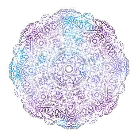 Vector coloreó la mandala étnica en un fondo blanco