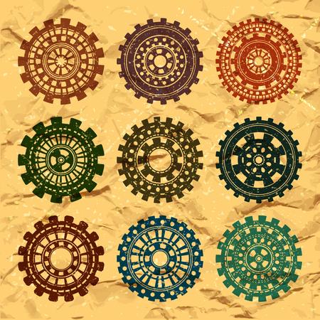 attrition: Vector vintage wheels set