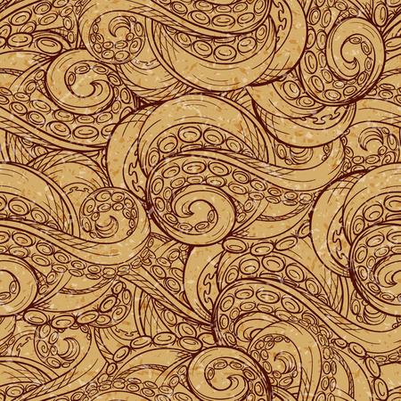 Vintage tentacles vector seamless pattern. Grunge background.