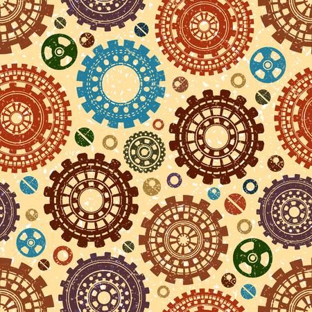 Gear weels retro vector seamless pattern. Steampunk grunge background.