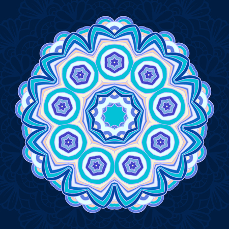tantra: Vector ethnic mandala on a dark background