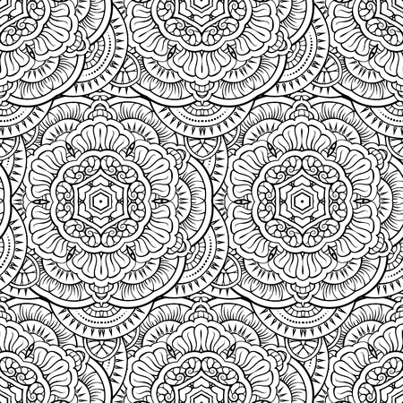 Black and white vector ethnic elements seamless pattern. Ilustração