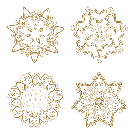 Vector round tracery mandala elements set for your design. Illustration