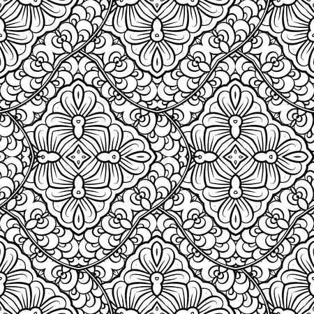 east indian: Ethnic black and white seamless pattern. Asian style motif.