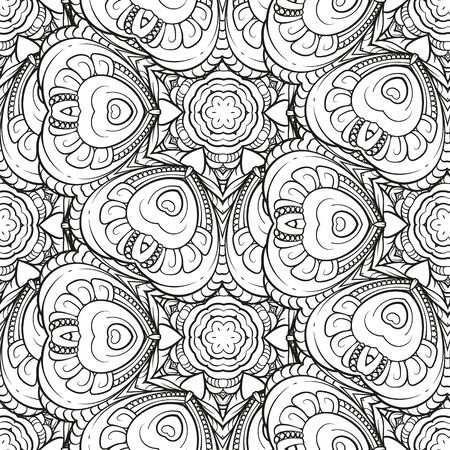 Ethnic black and white seamless pattern. Asian style motif.