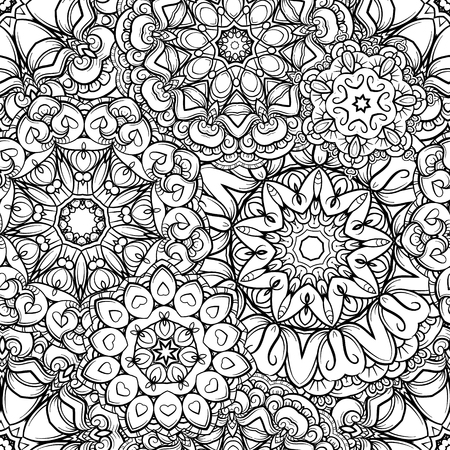 Vector abstract ethnic mandala elements seamless pattern