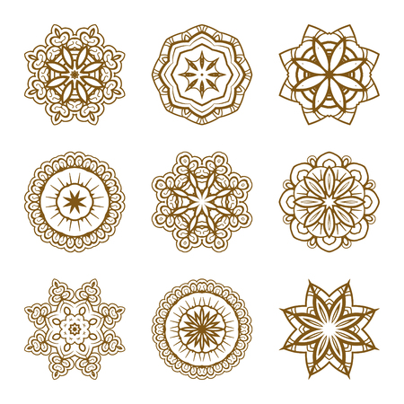 Set of vector mandala design elements. Illustration