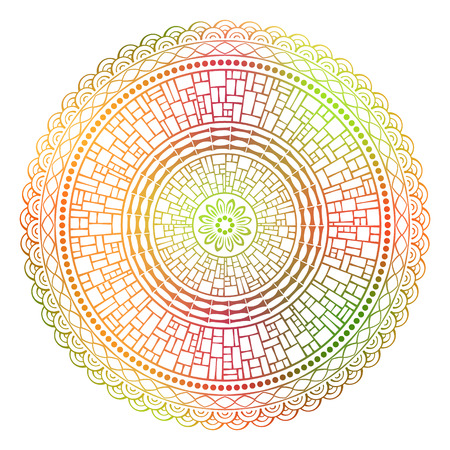 Vector colored ethnic mandala on a white background Illustration