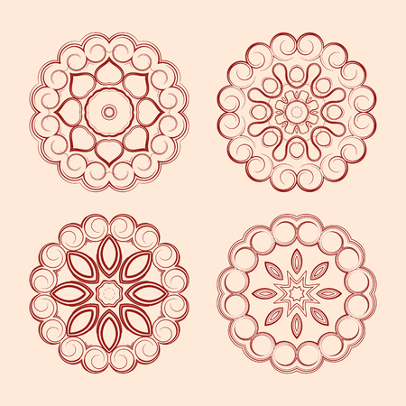 Four beautiful orient elements for your design Illustration