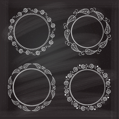 curlicue: Vector frames on the chalk background for your design.