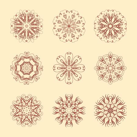Nine beautiful round elements for your design Illustration