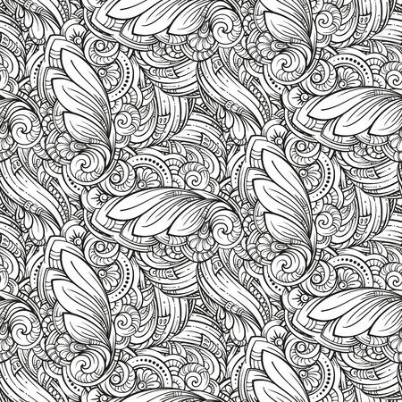 ベクトル抽象的な黒と白のシームレス パターン