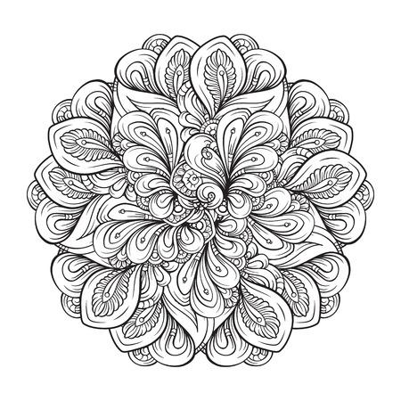 Abstract black and white mandala pattern.