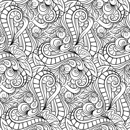 Vector abstract floral black and white seamless pattern