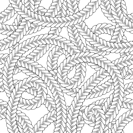 Black and white tangled braids vector seamless pattern Illustration