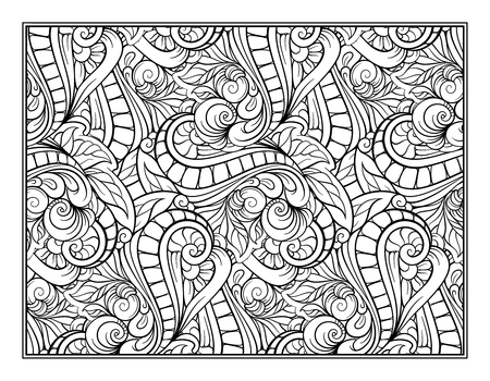 Paisley And Mandala Pattern In Frame Square Coloring Page Relaxation