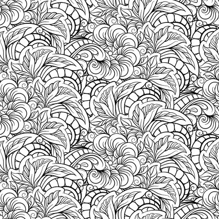Black and white floral seamless pattern in square frame