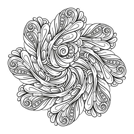 Vector abstract black and white ethnic mandala motif Illusztráció