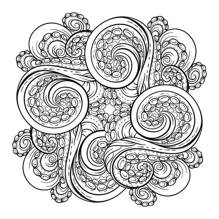 Black and white octopus tentacles square pattern