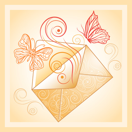 Romantic greeting card with post envelope and butterflies.
