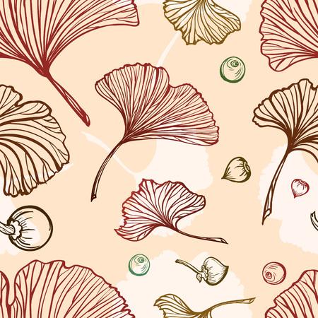 Ginkgo leaves vector seamless pattern. Vettoriali