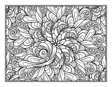 Black and white decorative ornamental coloring page.