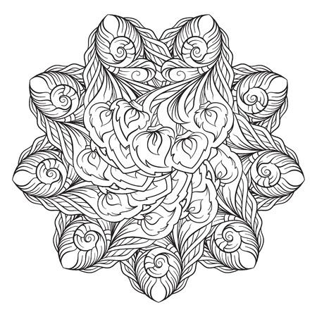 Ethnisches Mandalaschwarzweiss-motiv des Vektors abstraktes