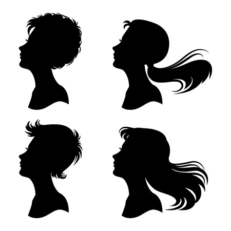 Womans profiles vector set. Various hairstyles.