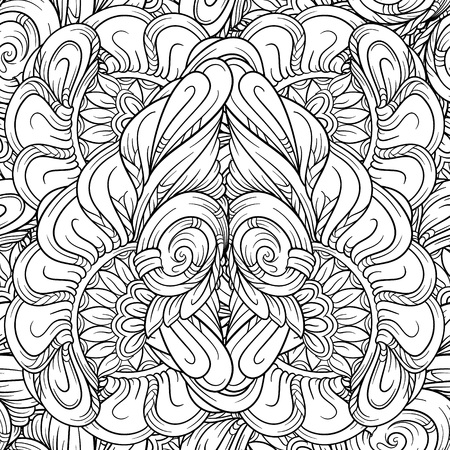 Black and white abstract ethnic seamless pattern. Illustration