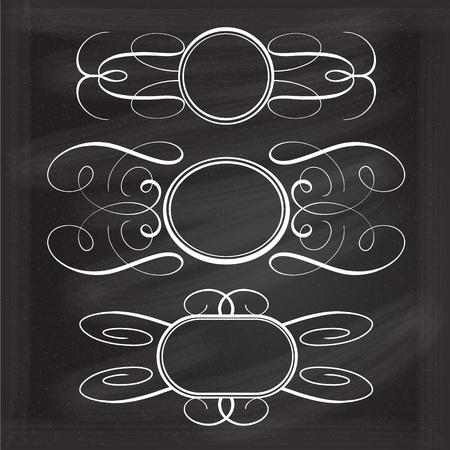 Vector calligraphy frames set on chalkboard background Illustration