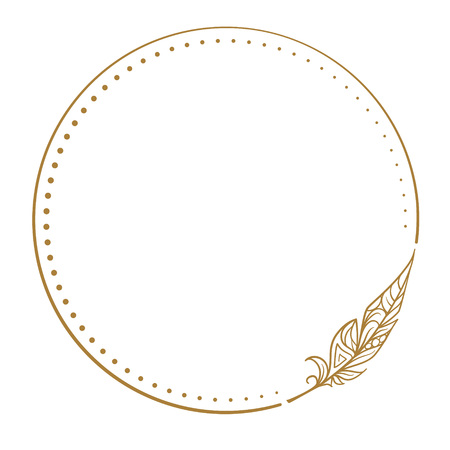 Vector round dotted frame frame whith feather decorative element