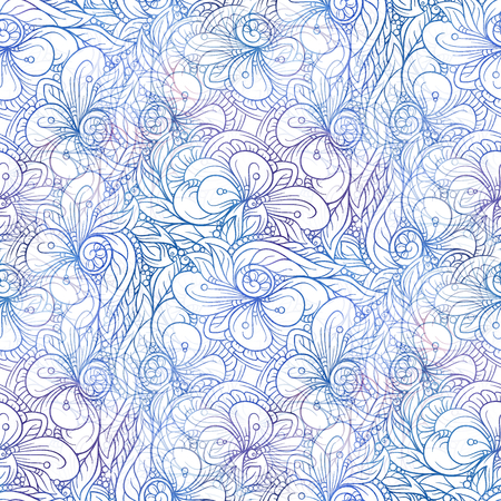 Fancy abstract decorative doodles colorful seamless pattern.