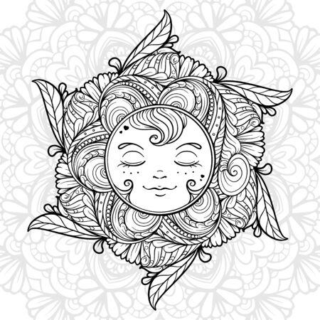 Ornamental sun coloring page. Vektoros illusztráció