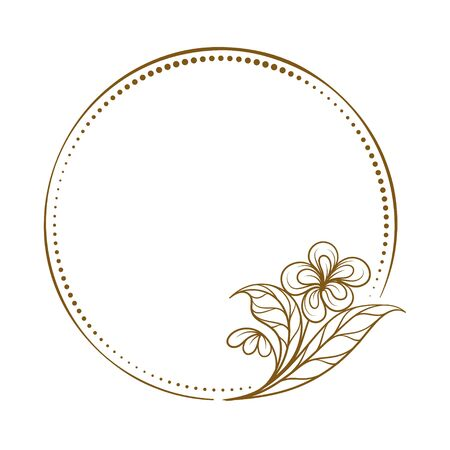 Vector round dotted frame with floral decoration Illustration
