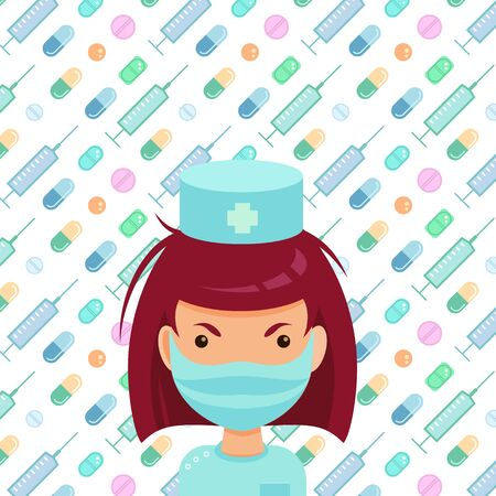 Brave nurse in medical mask on the various tablets, pills and syringes background. Vector flat style illustration.