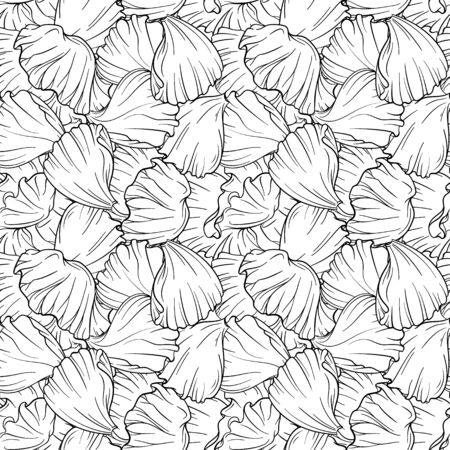 Black and white vector poppy petals seamless pattern