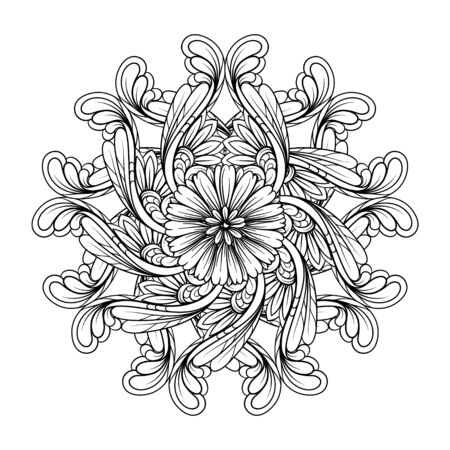 Vector abstract black and white ethnic mandala motif Illustration