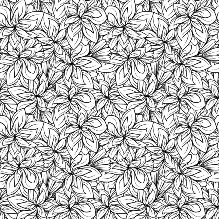 Black and white vector floral seamless pattern Illustration