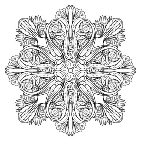 Vector abstract black and white floral motif