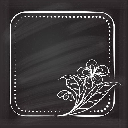 Vector square dotted frame with floral decoration on a chalkboard background