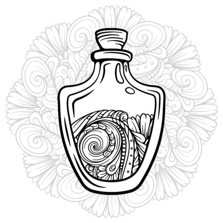 Bottle with magic healing potion on a lacy mandala background. Black and white vector graphic. Antistress coloring page. Illustration