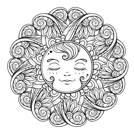 Black and white ornamental sun coloring page. Illustration