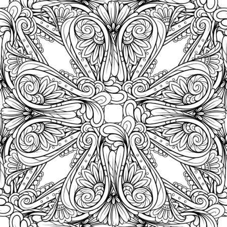Black and white abstract vintage floral seamless pattern. Illustration
