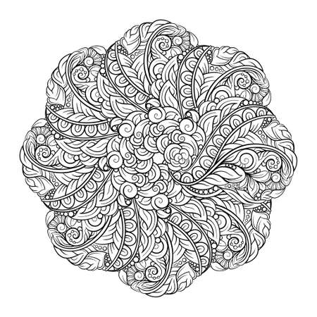 Black and white ethnic style floral mandala pattern for antistress coloring. Abstract coloring page. Illustration
