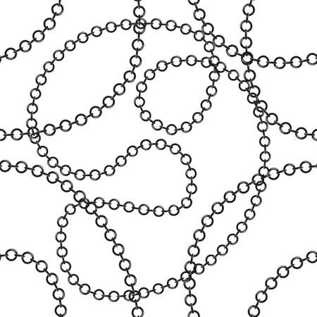 Black and white tangled chains vector seamless pattern