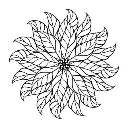 Black and white anristress coloring floral round motif. Herbal leaves rosette.